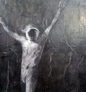 Crucifixion and Resurrection | Graphite on paper 60x60ins framed in black. I wanted the pose to be ambiguous with a sense of light and dark. Ray who posed for the figure is a carpenter, which I liked, and appears in other drawings but this one is my favourite. £2000 pounds. SOLD.
