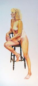 Ruth Series | oil on Ruth Series, half seted on a tall stool | oil on canvas 6ft x3ft. £3000