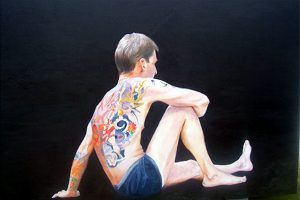 Skin | Skin is a postman. His back and parts of his legs are covered with intricate tattoos. The one on his back is a work of art in itself yet he can't see it without the use of a mirror. It can only be seen by others when he is naked with his back towards the viewer. £4000