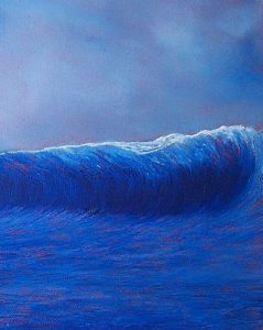 Small blue wave | 1 4x 10 inch oil on canvas £350