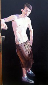 Stay True | He had 'Stay True' tattooed on his side as a reminder to himself. 72 x 36 inch. Oil on canvas. £3000.