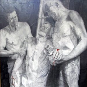 The Descent from the Cross | Graphite on paper on board 60 x 60 inch