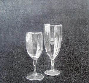Two empty glasses | Graphite on paper. SOLD