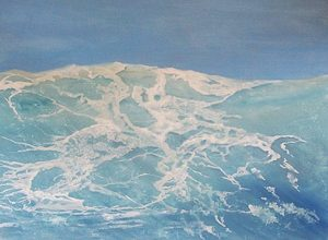Washed by waves | Oil on board 6 x 48 inch. SOLD £1000